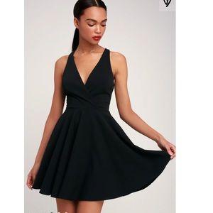 Lulu's black cross back skater dress size Medium